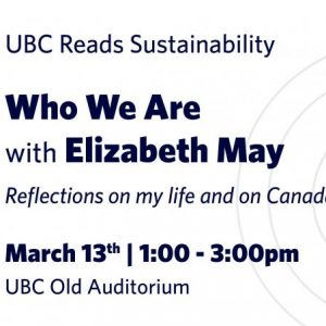 2018 UBC Reads Sustainability with Elizabeth May