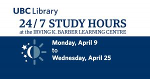 24/7 hours at the Irving K. Barber Learning Centre